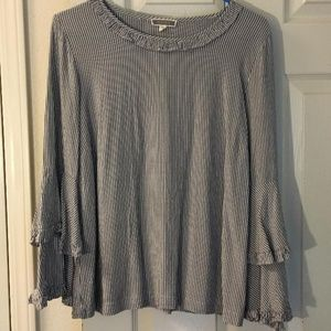 Pleione striped bell-sleeve blouse